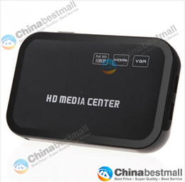 Wholesale New Full HD P Media Player Center RM RMVB AVI MPEG Multi Media Video Player with HDMI YPbPr VGA AV USB SD MMC Port Remote Control