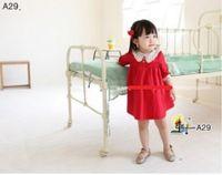 Wholesale Korean girls loose dress girls dress beautiful red cotton spring children s clothing girls outerwear