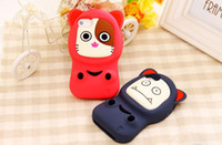 For Apple iPhone Silicone  High quality Personality 3D Cute Face Chang Doll Cat Pig Dog Bear Girl Soft Silicone Back Cover Case for iPhone 4 4G 4S 5g 50pcs