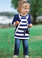 Wholesale spunkykids childrens girls hotsale spring autumn clothing set jackets stripe shirt denim jeans