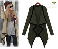 Wholesale New Fashion Shawl Coat Cotton cardigan Lapel Large yard Long Sleeve Soild Color Irregular Ponchos w018