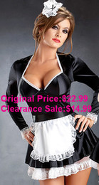 Wholesale Clearance Sale Fashion Sexy Holloween Costume French Maid Servant Long Sleeves Dress with Lace Trimming and Apron Hairpin