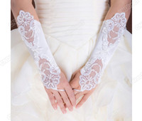 Wholesale Fashion Wedding Satin Lace Beads Fingerless Bridal Gloves Adeal