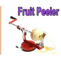 Wholesale 3 in Stainless Steel Fruit Apple Zester Pear Peeler Corer Slicer Suction Base Red Freeshipping Dropshipping