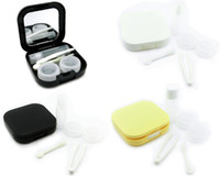 Wholesale Pure Square New Hot Cute Contact Lens Case Kit Travel Cleaning Eyes Holder Stick Bottle Tweezer Stick Mirror Box Set