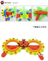 Wholesale Many styles Kids DIY Craft Kits EVA Foam Glasses D Puzzle Stickers Cartoon animals Mask Party