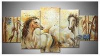 Oil Painting bamboo paint - Hand painted Hi Q modern wall art home decorative animal oil painting on canvas Bamboo horse set