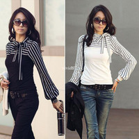 women's polo shirts - Women s Blouses New Polo Neck Stripes Long Sleeve Cotton Casual Tops T Shirt drop shipping T055
