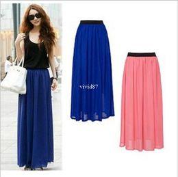 Wholesale New Arrival Spring Summer Chiffon Full Long Maxi Skirt Puff Beach Skirts High Waist Elastic Waistband T030