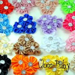 Trial Order Triple Colorful Satin Cluster Flower with Rhinestone Hair Accessories Photography Props 38pcs lot QueenBaby