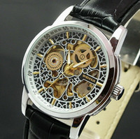Wholesale Top Rated Luxury Titanium Steel Silver Gold Skeleton Automatic Mechanical Wristwatch Men Women Flower Skull Leather Band Half Hunter Watches