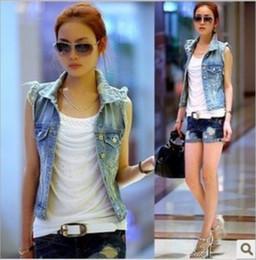 Wholesale HOT Womens Ladies Frayed Personalized Cardigans Denim Jean Vests S M L XL