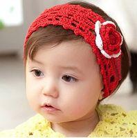 Headbands Cotton Floral Korean style Baby crochet headband pure cotton handmade knitted rose flower hairnet hair accessories #5623