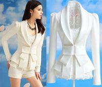 Wholesale Spring New Women White Big Bow Blazer Suit Jacket Lady Elegance Slim Lapel Blazers Coat Outerwear