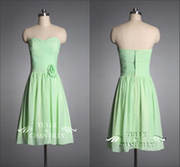 Wholesale Sweet Fresh Apple Green Crossed Ruched Chic Floral Short Length Bridesmaid Dress AH44