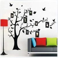 Peel & Stick PVC Plant Black DIY Photo Frame Tree Vine Flower ART Mural Wall Sticker Decal Decor