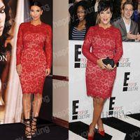 Zipper Fashion Week One-Color Cheap New Real Sample 2013 Hot Red Lace Long Sleeve Kim Kardashian Wear Short Woman Like Celebrity Dresses