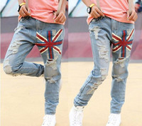 Wholesale Autumn Women s Street Style Frayed Colored Drawing Flag Long Jeans Denim Jeans Trousers M L CWC000375