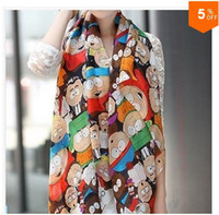Wholesale CHEAPEST novel cartoon figure fashion South Park silk scarf woman s cape velvet chiffon scarf X0013