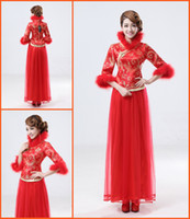 Wholesale Popular Cheap Red Custom Made Embroidery Two Piece Tulle Skirt Chinese Dresses Cheongsam Party Gowns