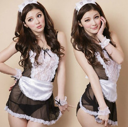 Wholesale 2013 Halloween New Sexy Maid Costume Waitress Lace See Through Cosplay Lingerie Ladies Mini Skirt G string