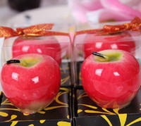Wholesale 20Pcs Newest Red and Green Apple Art Candle Packed in Box for Wedding and Chirstmas Gifts