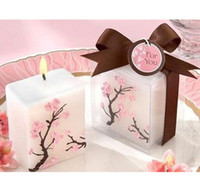 Candle For wedding and party. Ivory white Free Shipping Wedding Favors Candles Decorative Candles Japan Gift Cherry Blossom Elegance Candle 10 pcs lot