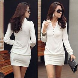 Fashion women dresses sexy Ladies dresses party dress skirts slim sexy dress casual mini dress white long sleeve solid color dresses XT6