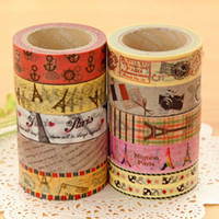 Wholesale Washi Tape Paper Masking Tape Adhesive Invite Paris Eiffel Tower Seamless Stickers Refill Remarks Stationery Sticky Japanese Gift Wrap