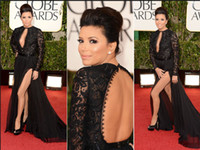 Wholesale th Golden Globes Awards Eva Longoria Red Carpet Dresses Sexy Side Slit Long Sleeves Black Lace KeyHole Gowns