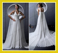 Model Pictures V-Neck Covered Button Sexy V-Neck White Chiffon Grecian Style Cheap Wedding Dresses Shiny Beads Sequins Vintage Covered Button Bridal Fancy Gowns with Flowy Train