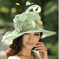 ladies dress hat - Women Sinamay Church Hat Ladies Hat Winter Dress Top Hat Light Green Color Sinamay Hat With Feathers And Brooch Elegant Fashion