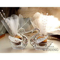 Wholesale Luxury European Romantic Acrylic Silver Swan Sweet Lover Candy Case Box With Wedding Party Gift WL W