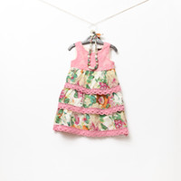 Baby girl kids vest dress floral dress flower dress crochet ...