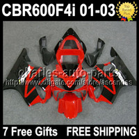 7gifts For HONDA F4i 01- 03 CBR600F4i Gloss Red black CBR600F...