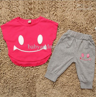 Cheap Wholesale - 4 sets 2013 summer children clothing sets baby girls smiling face suits boys T-shirt + pants