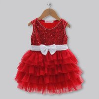 baby clothes wholesale - New Christmas Girls Dresses Red And White Belt Yarn Dresses Princess Party Dresses baby clothes GD30828