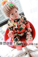 Boy Spring / Autumn Velour Wholesale - hot new children's clothing boys suit velvet printing Spring Tong suit children 1-3 years old baby wear BB
