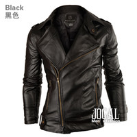 Wholesale New Slim Men Faux Leather Jacket Washing PU Learther Oblique Zipper Fashion Designer Motorcycle Jacket Mens