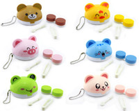 Contact Lens Storage Set 6 colors As the photo show 3D Cartoon Cute Animal Lanyards Contact Lens Case Kit Travel Cleaning Eyes Holder Stick Bottle Tweezer Stick Mirror Box Set Free Shipping