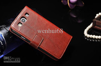 Wholesale Faddist Crazy horse skin leather cover for Samsung galaxy s3 soft leather case cover card holders for s3 i9300