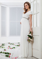 Wholesale Stretch knit satin short sleeves bodice with beading and empire style zipper back floor length skirt Maternity formal Dresses MD0011