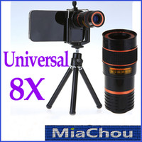 Universal   8X Zoom Universal Telescope Long Focal Camera Lens for iPhone 5 5S 4 Smart Cell Phone with Mini Tripod Holder