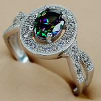 Wholesale Fashion White Cubic Zirconia and Rainbow Mystic Topaz stone Micro inlays jewelry Silver RING Classic R3144 sz