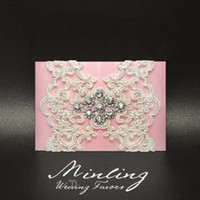 Wholesale 30PCS HANDMADE LUXURIOUS WEDDING INVITATION CARDS PINK WEDDING FAVORS DIOO
