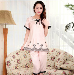 Wholesale Summer pajamas female models cute princess lace short sleeved Imitated Silk pajama suit Two Piece home wear