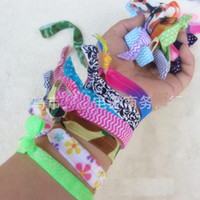 Wholesale rainbow ribbon Fold Over Elastic Hair Ties bracelet elastic wristbands ponytail scrunchies for women kids