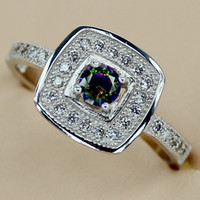Wholesale Casual Fashion White crystal and Rainbow Mystic Topaz crystal Micro inlays jewelry Silver RING R3148 sz