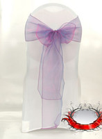 Wholesale Hot Fashion Chair Back Glass Yarn Butterfly knot Wedding Chair Back Adornment Purple Streamers
