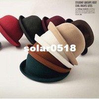 Wholesale derby hat cap Ladies Wool Fedora Hat Solid Color Round Top Jazz Cap woolelegant felt hat